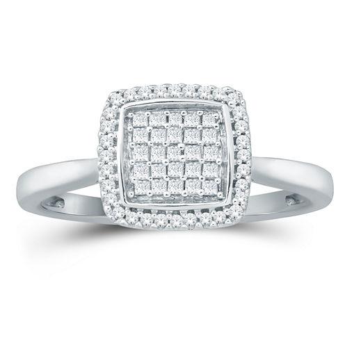 Womens 1/3 CT. T.W. Genuine Princess White Diamond 10K Gold Engagement Ring