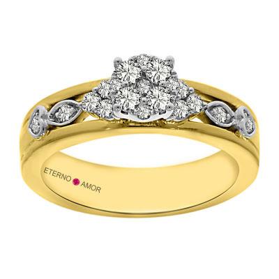 Eterno Amor Womens 1/2 CT. T.W. Genuine Round Diamond 14K Gold Engagement Ring