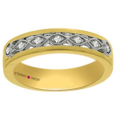 Eterno Amor Womens 1/10 CT. T.W. Diamond 14K Gold Band