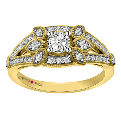Eterno Amor Womens 5/8 CT. T.W. Genuine Round White Diamond 14K Gold Engagement Ring