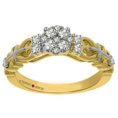 Eterno Amor Womens 1/3 CT. T.W. Genuine Round White Diamond 14K Gold Engagement Ring