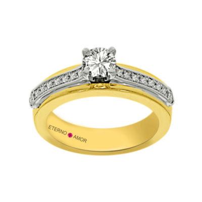 Eterno Amor Womens 5/8 CT. T.W. Round White Diamond 14K Gold Engagement Ring