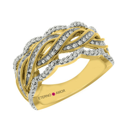 Eterno Amor Womens 3/8 CT. T.W. White Diamond 14K Gold Band