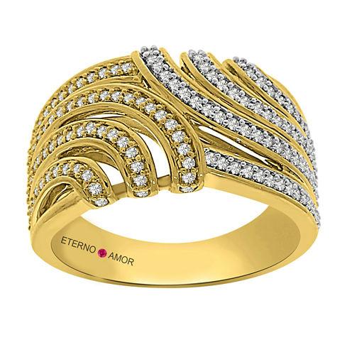Eterno Amor Womens 1/2 CT. T.W. Genuine White Diamond 14K Gold Band