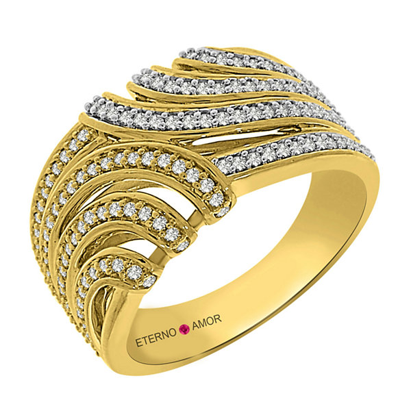 Eterno Amor Womens 1/2 CT. T.W. White Diamond 14K Gold Band