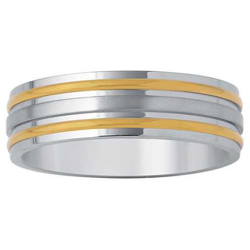 Mens 7mm Wedding Band in Two Tone Stainless Steel