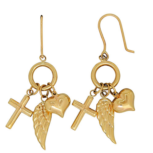 Infinite Gold 14K Yellow Gold Inspirational CharmsDrop Earrings