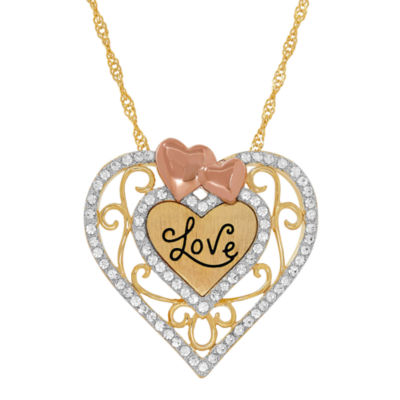 "14K Tri-Tone Gold over Silver Crystal ""Love"" Heart Filigree Pendant Necklace"