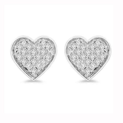1/3 CT. T.W. Genuine White Diamond Sterling Silver 8.5mm Heart Stud Earrings