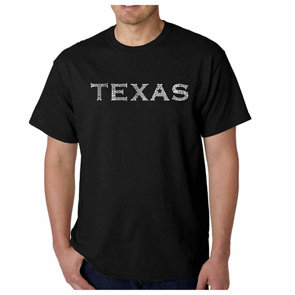 Los Angeles Pop Art the Great Cities of Texas Short Sleeve Word Art T-Shirt
