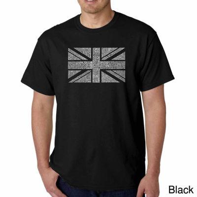Los Angeles Pop Art Union Jack Short Sleeve Word Art T-Shirt