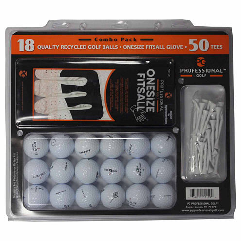 Reload 18 Pack TopFlite Recycled Golf Balls, One Size Fits All Glove and Tees.