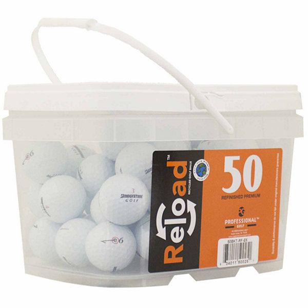 Reload 50 pack Bridgestone E6 Refinished Golf Balls in a reusable plastic bucket with handle.