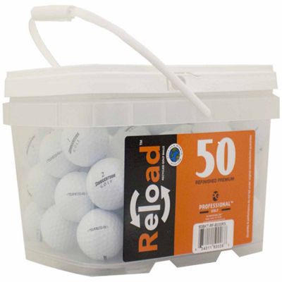Reload 50 pack Bridgestone B330-RX Refinished Golf Balls in a reusable plastic bucket with handle.