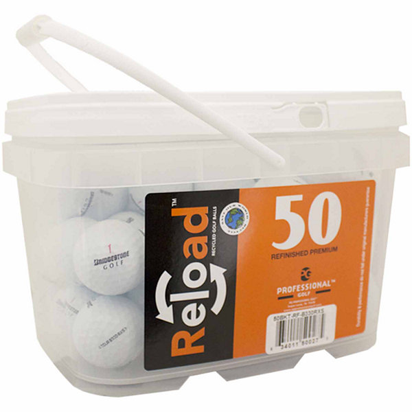 Reload 50 pack Bridgestone B330-RXS Refinished Golf Balls in a reusable plastic bucket with handle.