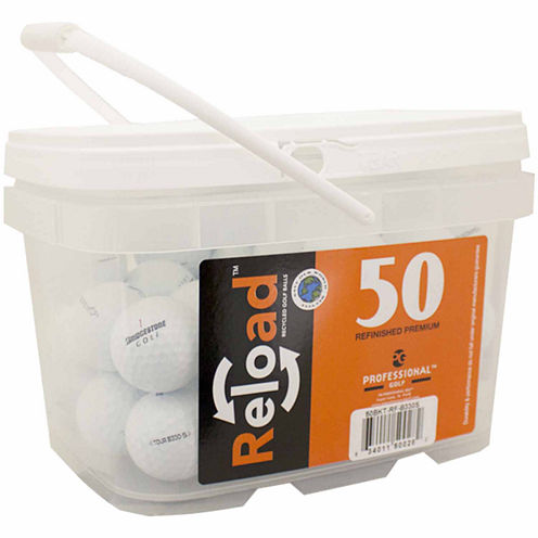 Reload 50 pack Bridgestone B330-S Refinished Golf Balls in a reusable plastic bucket with handle.