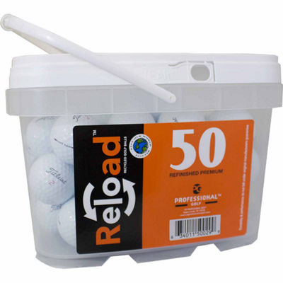 Reload 50 pack Titleist NXT Tour Refinished Golf Balls in a reusable plastic bucket with handle.