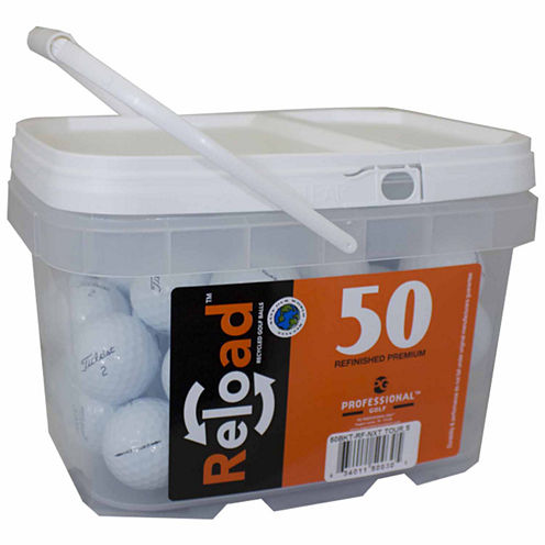 Reload 50 pack Titleist NXT Tour S Refinished Golf Balls in a reusable plastic bucket with handle.