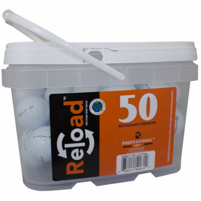 Reload 50 pack Taylormade Lethal Refinished Golf Balls in a reusable plastic bucket with handle.