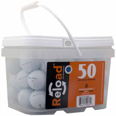 Reload 50 pack Taylormade Rocketballz Urethane Refinished Golf Balls in a reusable plastic bucket with handle.