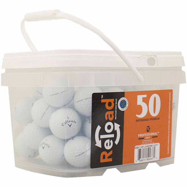 Reload 50 pack Callaway Chromesoft Refinished Golf Balls in a reusable plastic bucket with handle.