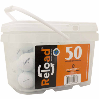 Reload 50 pack Srixon ZStar Refinished Golf Balls in a reusable plastic bucket with handle.