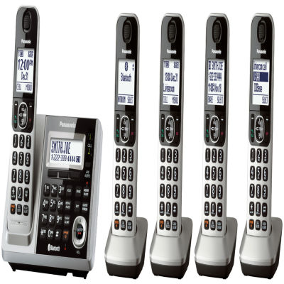 Panasonic KX-TGF375S Link2Cell DECT 6.0 Bluetooth Cordless Phone w/ 5 Handsets & Answering Machine - Silver