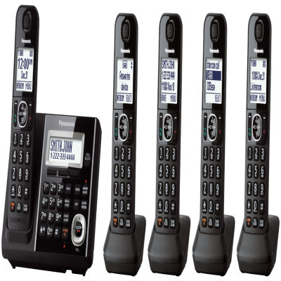 Panasonic KX-TGF345B Expandable Digital Cordless Answering System with 5 Handsets - Black