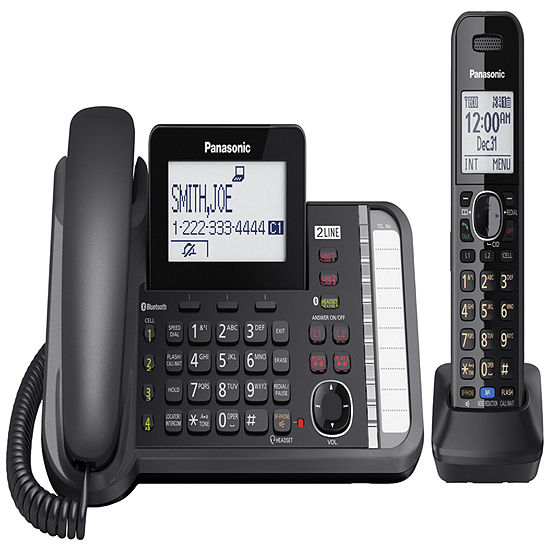 Panasonic KX-TG9581B Link2Cell DECT 6.0 2-Line Corded Phone with Cordless Handset - Black