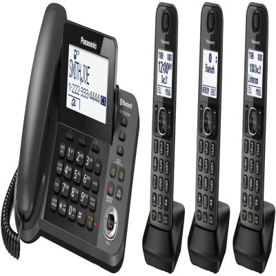 Panasonic KX-TGF383M Link2Cell DECT 6.0 Bluetooth Corded Phone with 3 Cordless Handsets & Answering Machine - Metallic Black