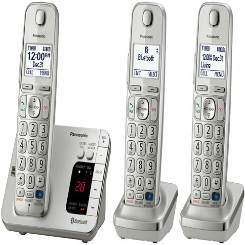 Panasonic KX-TGE263S Link2Cell DECT 6.0 Bluetooth Cordless Phone w/ 3 Handsets & Answering Machine - Silver