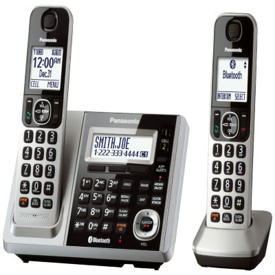 Panasonic KX-TGF372S Link2Cell DECT 6.0 Bluetooth Cordless Phone w/ 2 Handsets & Answering Machine - Silver