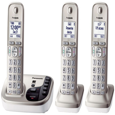 Panasonic KX-TGD223N Expandable Digital Cordless Answering System with 3 Handsets - Champagne Gold