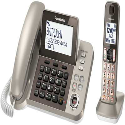 Panasonic KX-TGF350N DECT 6.0 Expandable Corded Phone with 1 Cordless Handset & Answering Machine - Champagne Gold