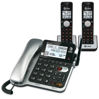 AT&T CL84202 DECT 6.0 Expandable Corded/Cordless Phone with Answering System and Caller ID/Call Waiting, 2 Handsets