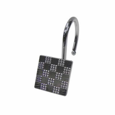 Elegant Checker Shower Curtain Hooks