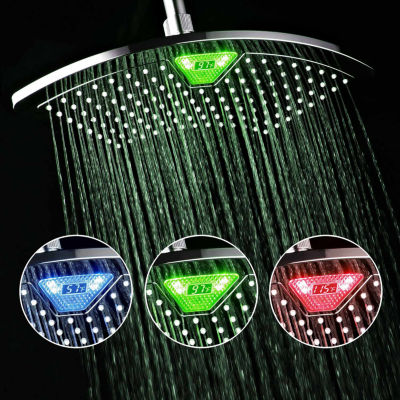 DreamSpa® AquaFan 12-inch All-Chrome Rainfall Shower Head with Color-Changing LED/LCD Temperature Display / Premium Chrome