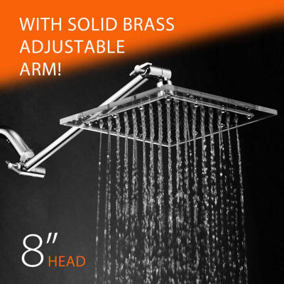 HotelSpa® Square Stainless Steel 8-inch RainfallShower Head with Clear Acrylic Rim with 12-inch  Height/Angle Adjustable Extension Arm