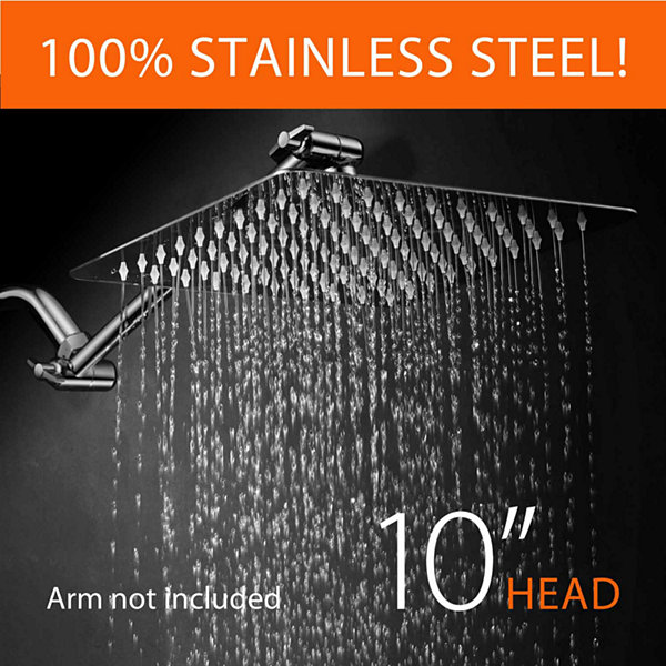 HotelSpa® Giant 10-inch Stainless Steel SlimlineSquare Rainfall Showerhead w/o Arm