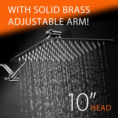 "HotelSpa® Giant 10"" Stainless Steel Rainfall Square Shower Head with 11"" Solid Brass Adjustable Extension Arm"
