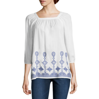 St. John's Bay Embroidered 3/4 Sleeve Blouse