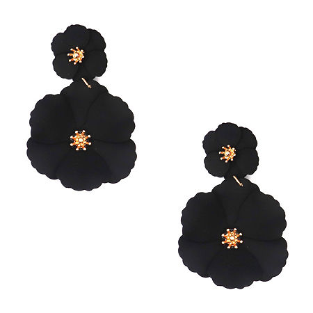 Bijoux Bar Flower Flower Drop Earrings, One Size , Black