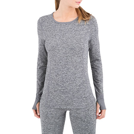 Terra Mar Cloud Nine Baselayer Womens Pajama Top Scoop Neck, Small , Gray