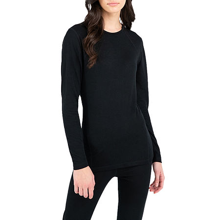 Terra Mar Thermapeak Base Layer Womens Thermal Pajama Top Crew Neck, X-small , Black