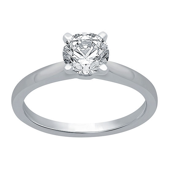 Womens 2 CT. T.W. Genuine White Diamond 14K White Gold Round Solitaire Engagement Ring