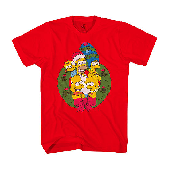 Simpsons Family Mens Crew Neck Short Sleeve Graphic T-Shirt