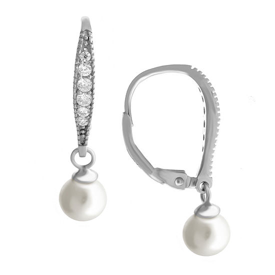 Silver Treasures Sterling Silver Simulated Pearl Drop Earrings
