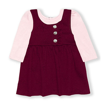 Nannette Baby Girls Long Sleeve Dress Set, 3-6 Months , Red - 25803890042