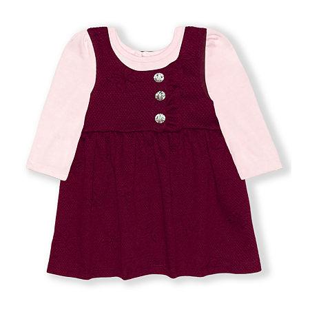 Nannette Baby Girls Long Sleeve Dress Set, Newborn-3 Months , Red - 25803890026