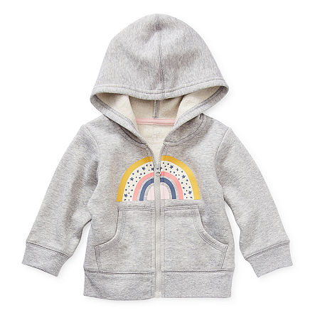 Okie Dokie Fleece Baby Girls Cuffed Sleeve Hoodie, 12 Months , Gray